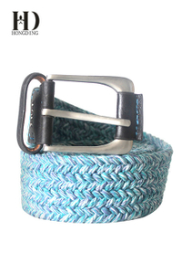 Mens Silver And Blue Fabric Belt