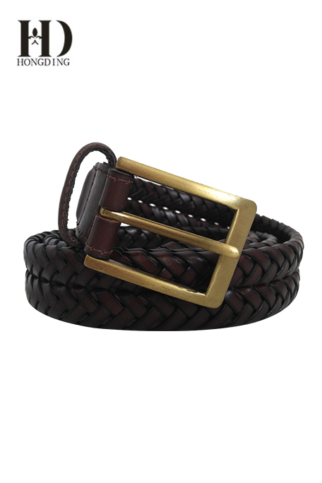 Mens Maroon Braided Leather Belt
