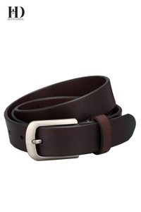 HongDing Coffee Fashion Genuine Cowhide Leather Narrow Jeans Belts with Pin Buckle for Men