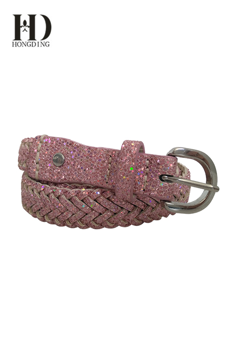 Womens Glitter Dress Braided Skinny Belt