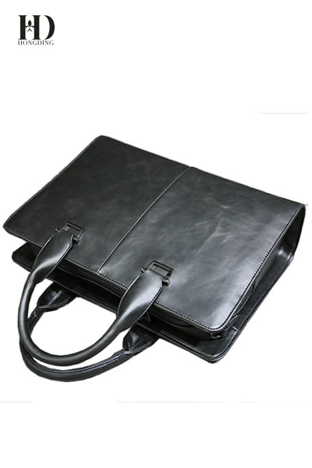 HongDing Black High Quality Crazy Horse Leather PU Handbags for Men