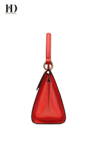 HongDing Red Genuine Cowhide Leather Handbags with Large Capacity and Square Lock for Women