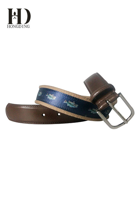 Blue Mens Plain Webbing Canvas Belt