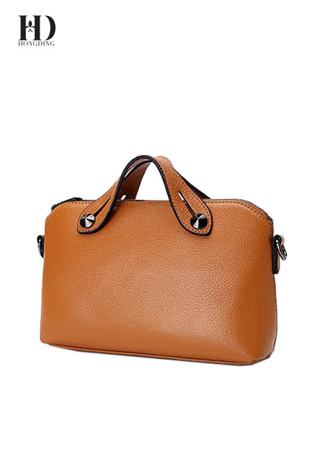 HongDing Light Brown Fashion Genuine Cowhide Leather Handbags with Shoulder Strap for Women