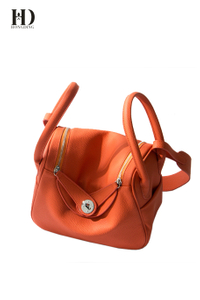 HongDing Orange Color Lindy Bag High-Quality PU Leather Handbags with Shoulder Strap for Women