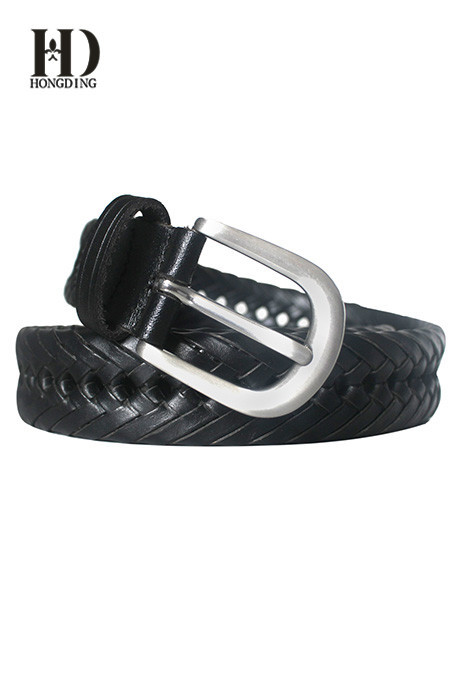 Black Braided belts for Men with gold buckle