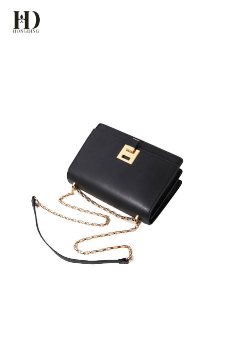 HongDing Multicolor Cowhide Leather Shoulder Bag with Alloy Chain Shoulder Strap for Women