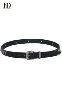 HongDing Black Retro Rivet PU Belts with Pin Buckle Three Pieces of Belts for Women