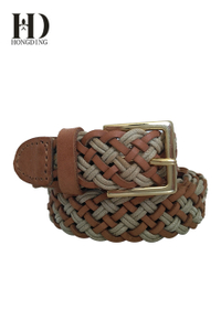 Womens braided leather belts with metal buckle