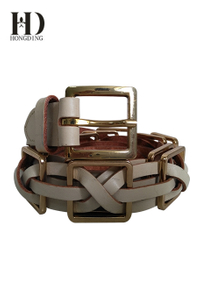 Women's Braided Leather Belt With Golden Buckle