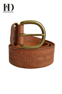 Brown Wide Leather Women Belt