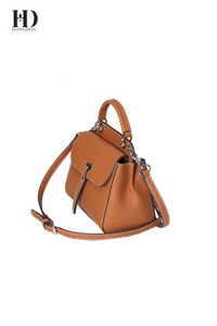 HongDing Large Capacity Khaki Genuine Cowhide Leather Handbags with Shoulder Strap for Women