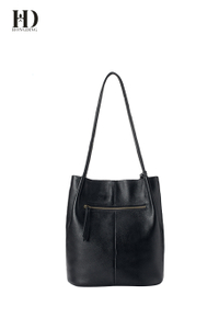 HongDing Black Genuine Cowhide Leather Handbags with Manual Tassel for Women