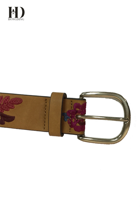 HongDing Tan Classical Fashion Embroidery Women PU Belt With Pin Buckle