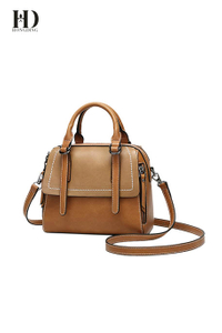 HongDing Caramel Color High-Quality PU Leather Handbags with Shoulder Strap for Women