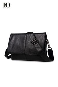 HongDing Black Fashion Soft PU Leather Handbags Shoulder Bags for Men