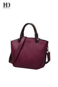 PU Leather Handbags with Genuine Leather Handle, Shoulder Bags for Women Large Capacity Purple