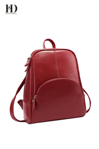 HongDing Red Cowhide Leather Backpack Travel Bag with Smooth Zipper for Women